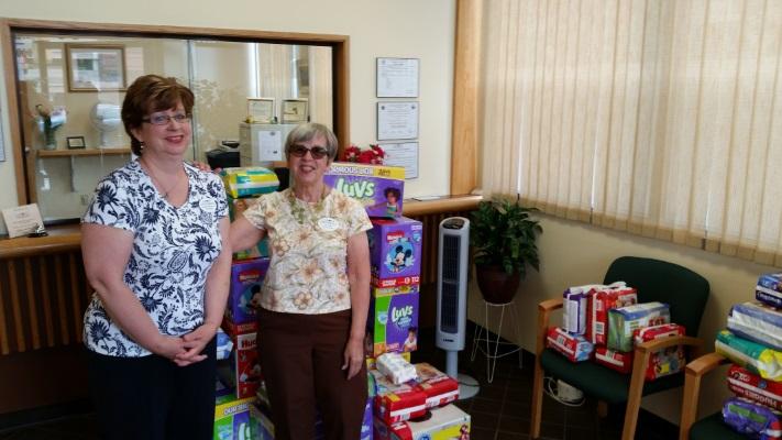 Paula Butler R.N. Nurse Manager, Gail Gardner, Director - St. John Diaper Drive 2016